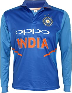 India Jersey Full Sleeve Cricket Supporter T-Shirt New Oppo Team Uniform 2019-20 Kids to Adults