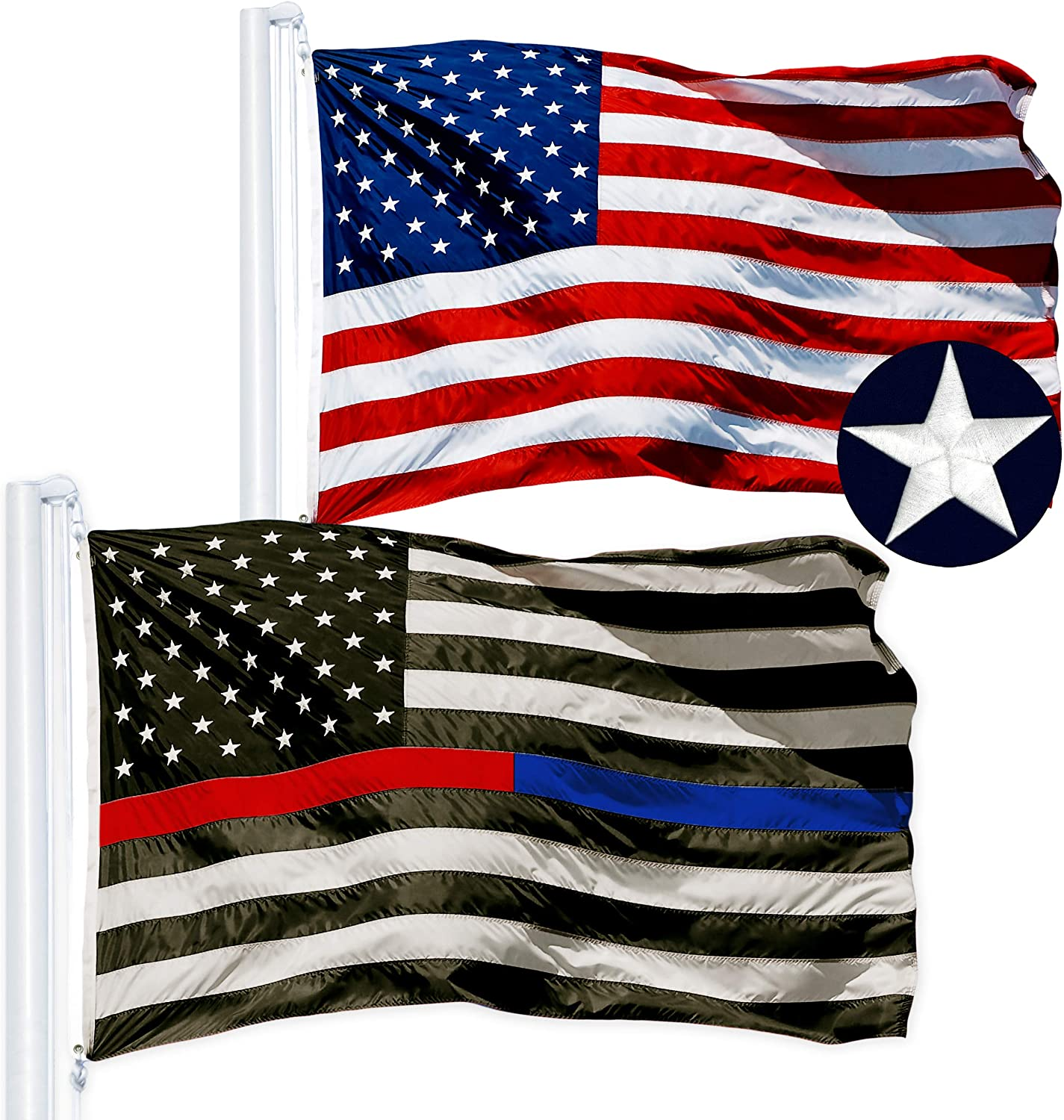 G128 Brand Cheap Sale Venue Combo Pack: USA American Flag Th Over item handling Embroidered Ft 3x5 Stars