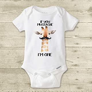 Giraffe Baby Bodysuit or Infant T-Shirt | Safari Animal Birthday | First Birthday Shirt | Big One Birthday | Cake Smash Outfit | If You Mustache I'm One