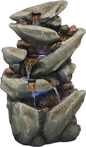 new arrival Sunnydaze popular Streaming Tilted Rocks Outdoor Water Fountain with LED Lights and Submersible Electric Pump, online 31-Inch sale