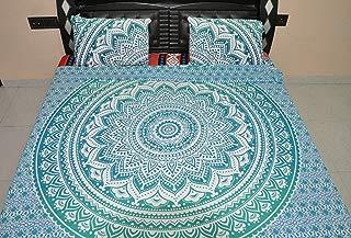 Jaipur Handloom Reversible Ombre Mandala Duvet Cover, Ombre Mandala Quilt Cover, Donna Cover Bedding Coverlet Comforter Quilt Cover (Green)