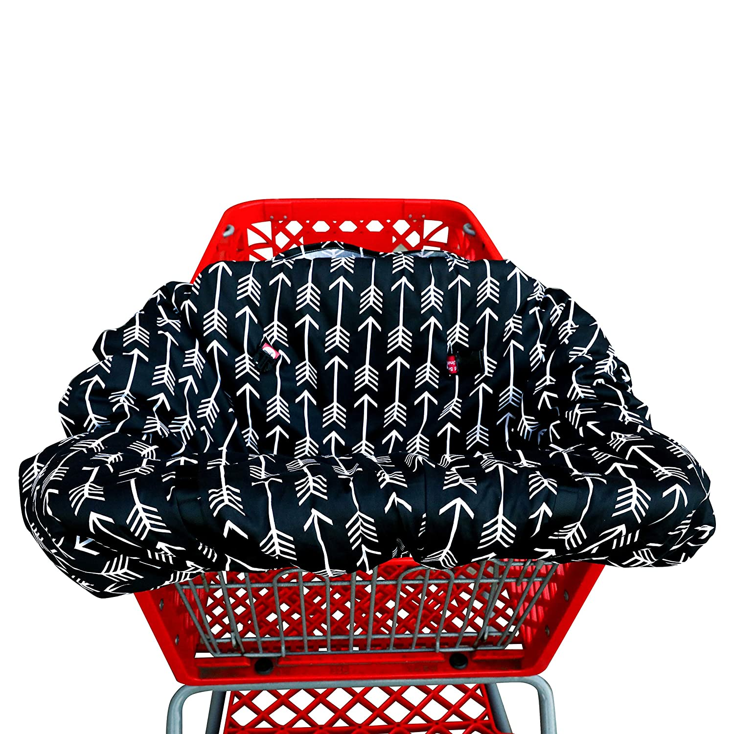 Shopping cart Covers for Baby   High Chair and Grocery Cover for Babies   Infants  Toddlers Trolley Seat for Boys and Girls (Black White Arrow)