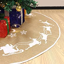 JOYIN Christmas Tree Skirt 48-inch Diameter, Burlap Tree Skirt Christmas Decoration with Santa Flying in his Sleigh Pattern