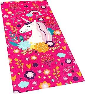 Love Unicorn Beach Towel Pink Fantasy Rainbow 30 x 60 inches 100% Cotton Velour