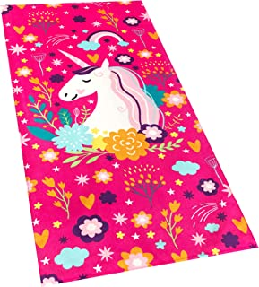 Softerry Love Unicorn Beach Towel Pink Fantasy Rainbow 30 x 60 inches 100% Cotton Velour