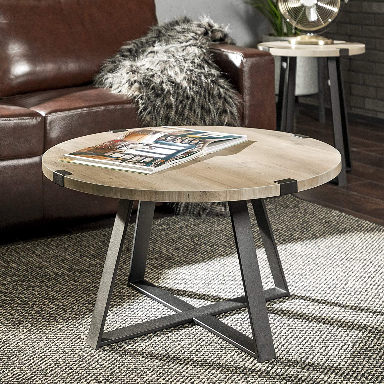 WE Furniture AZF30MWCTGW Rustic Farmhouse Round Metal Coffee Accent Table Living Room Black 30 Inch Grey