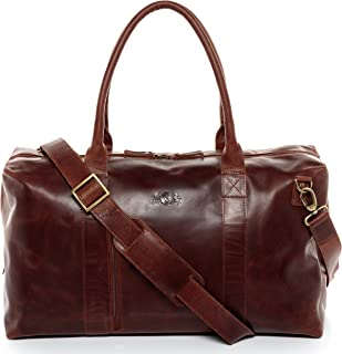 leather travel bag holdall YALE ZIP Large duffel bag weekender duffle brown-cognac