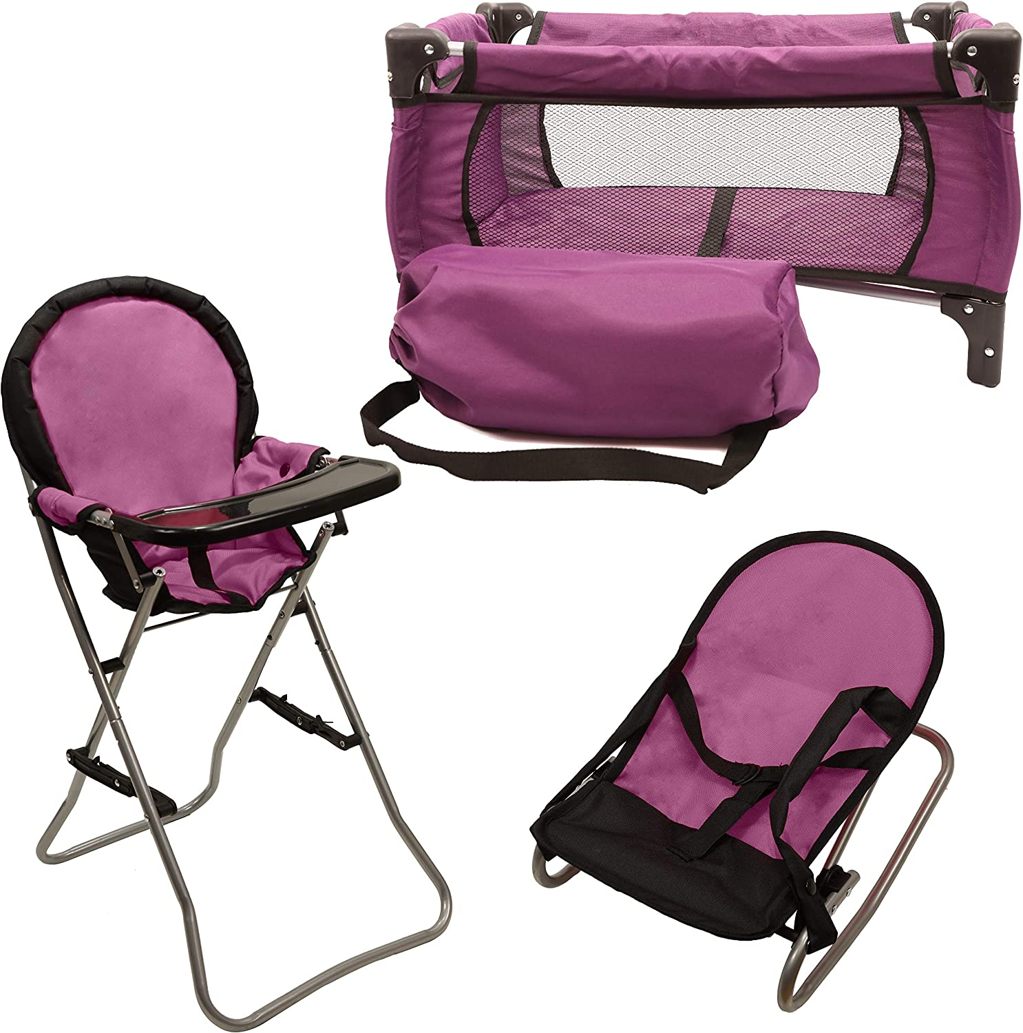 Mommy & Me 3 In 1 Baby Doll Accessories Mega Deluxe Playset with Doll High Chair, Doll Bouncer, and Doll Pack N Play Baby Doll Crib, Fits 18 Inch American Girl Doll, Purple : Toys & Games
