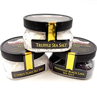 Finishing Sea Salt Collection 3-Pack: Black Lava, Truffle, Cyprus White - Perfect for Adding Flair and Flavor to Your Favorite Foods - Non-GMO, Gluten-Free, No MSG (12 total oz.)