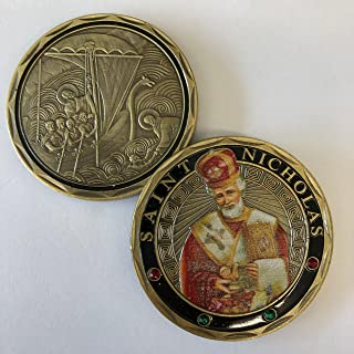 Aizics Mint ST. Nicholas - Patron Saint of Sailors, Merchants - Wonderworker - Commemorative Challenge Coin. Cast with Colorized Saint and Iron Plating & Ancient Bronze Original one-of-a-Kind Design.