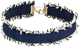 Steve Madden Dark Blue Denim Frayed Choker Necklace