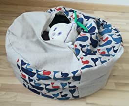 Stuffed Animal Storage Bean Bag Chair, Natural Linen Pouf Cover for Kids and Toddlers, Navy Blue Whales Storage Bag Organizer Zippered 24x10