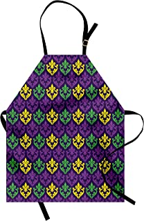 Ambesonne Mardi Gras Apron, Antique Old Fashioned Motifs in Mardi Gras Holiday Colors Tile Pattern, Unisex Kitchen Bib with Adjustable Neck for Cooking Gardening, Adult Size, Purple Yellow