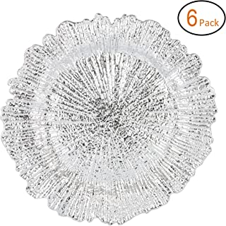 Fantastic:)™ Round 13 Inch Plastic Charger Plates with Eletroplating Finish (6, Reef Silver)