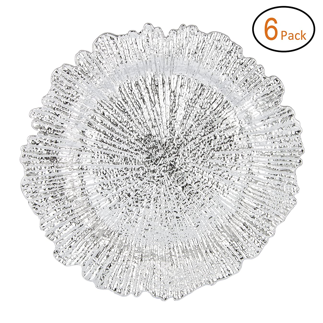 Fantastic:)? Round 13 Inch Plastic Charger Plates with Eletroplating Finish (6, Reef Silver)