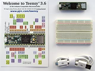 Teensy 3.6 with pins, plus breadboard and usb cable
