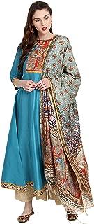 Janasya Indian Tunic Tops Poly Silk Kurti with Dupatta for Women