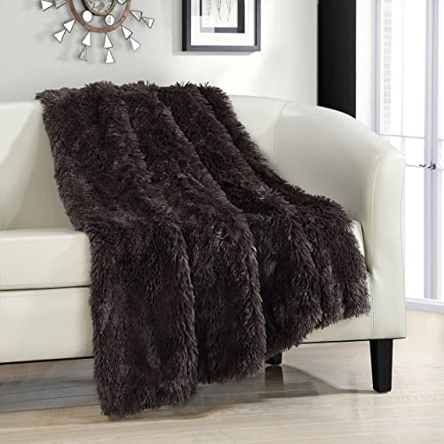 Chic Home Elana Shaggy Faux Fur Supersoft Ultra Plush Decorative Throw Blanket, 50 x 60, Brown