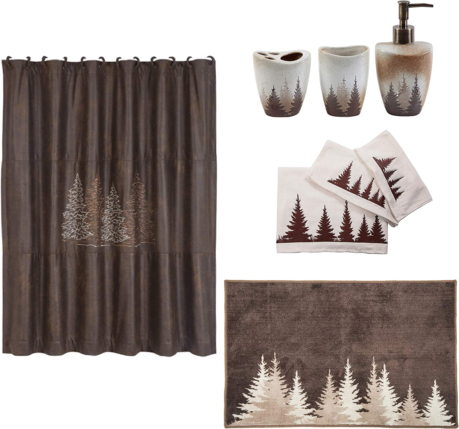 HiEnd Accents Clearwater 20-Piece Bathroom, Shower Curtain Hook, Bath Accessory, Rug, Towel Set, Brown