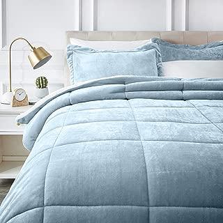 AmazonBasics Ultra-Soft Micromink Sherpa Comforter Bed Set - King, Smoke Blue