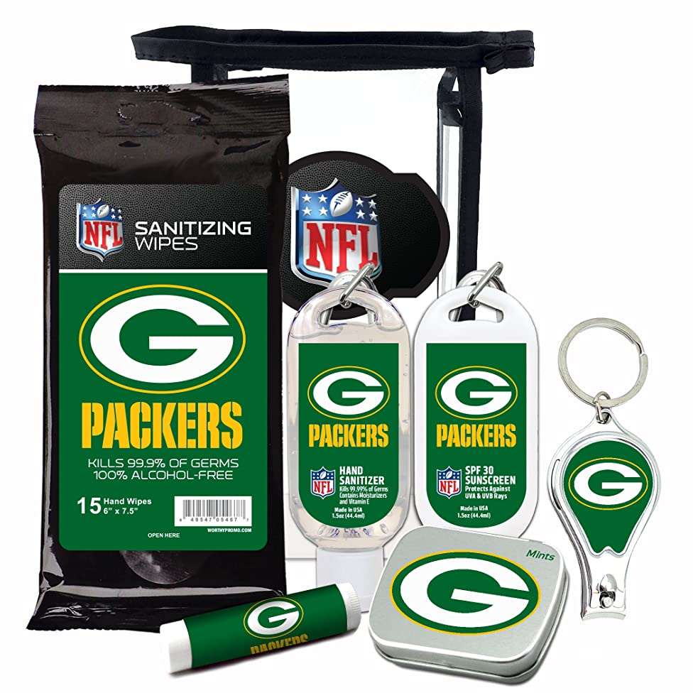 Green Bay Packers 6-Piece Fan Kit with Decorative Mint Tin, Nail Clippers, Hand Sanitizer, SPF 15 Lip Balm, SPF 30 Sunscreen, Sanitizer Wipes. NFL Football Gifts for Men and Women