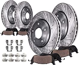 Detroit Axle - 320mm FRONT & REAR DRILLED and SLOTTED Brake Rotors & Ceramic Brake Pads w/Hardware fits Infiniti EX35 G25 G35 G37 G45 M35 M45 & Nissan 350Z 370Z