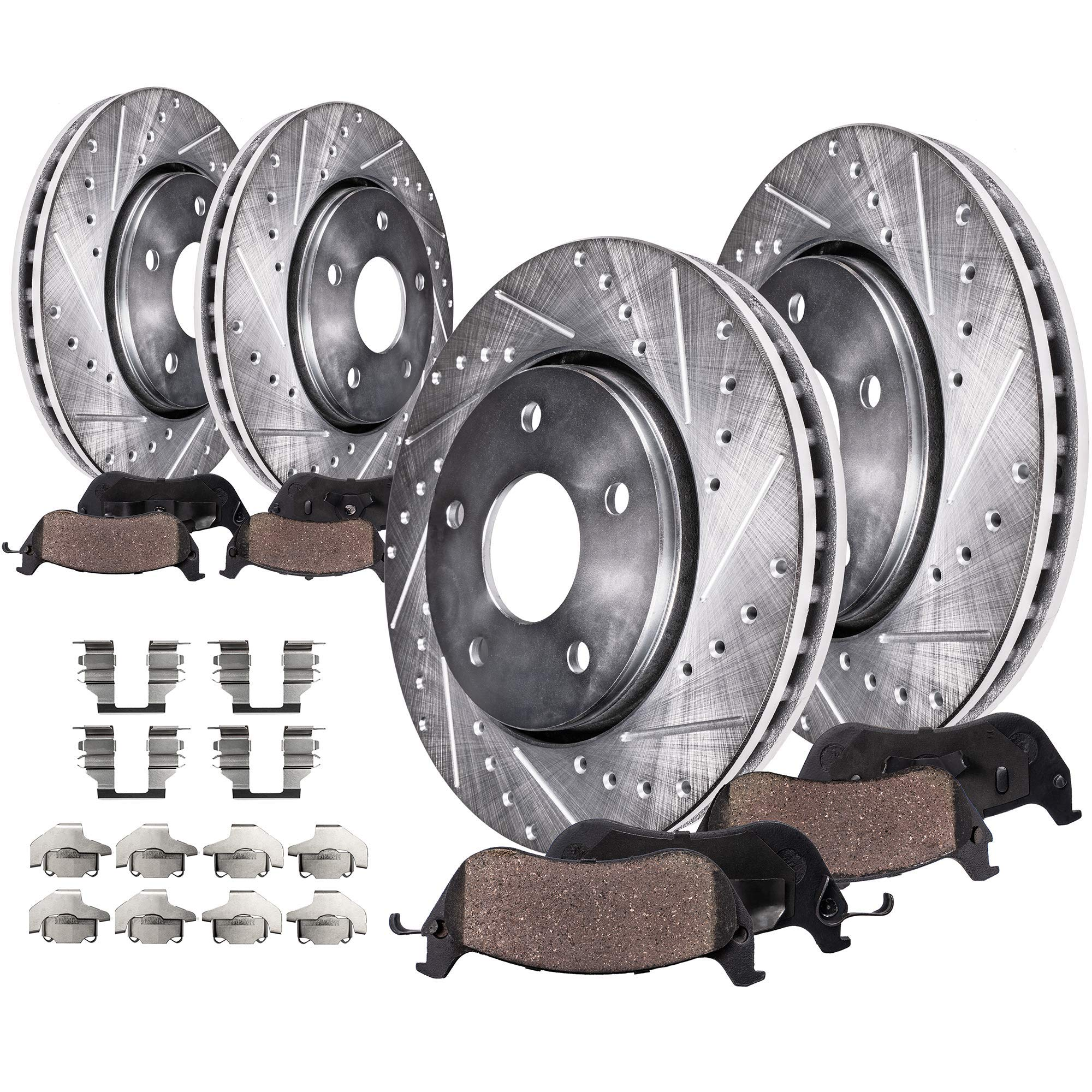 Front+Rear Brake Rotors /& Carbon Ceramic Pads For Durango Jeep Grand Cherokee
