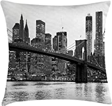KAKICSA Modern Throw Pillow Cushion Cover, Brooklyn Bridge Sunset with Manhattan American New York City Famous Town Image, Decorative Square Accent Pillow Case, 18 x 18 Inches, Black and White