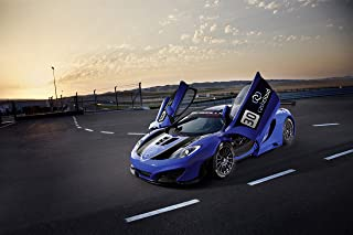 McLaren MP4-12C GT3 by Gemballa (2012-2018) Car Print on 10 Mil Archival Satin Paper Blue Front Side Static View 16