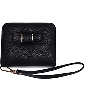 Lady's Small Stylish Vegan Leather Zipper Card Holder Wallet Wristlet