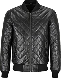 Men's 70s Bomber Leather Jacket Black Quilted Street Inspired Retro Jacket 275-D