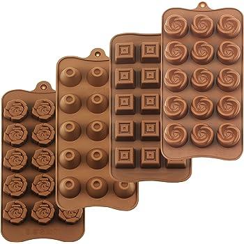 HomEdge - Set di 4 stampi per tartufi, antiaderenti per uso alimentare, in silicone per gelatina, cioccolatini, caramelle, gelato