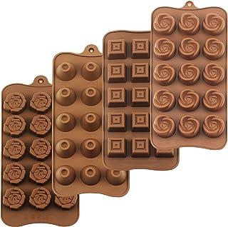 HomEdge Lot de 4 moules à truffe, en silicone de qualité alimentaire, anti-adhésif, pour gelée, chocolat, bonbons, glaçons.