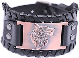 TEAMER Vintage Celtic Knot Wolf Fenrir Leather Bracelet Cuff Bangle Arm Ring Pagan Jewelry