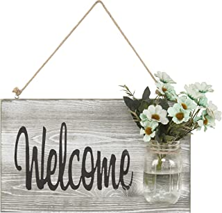 MyGift Shabby Chic Whitewashed Hanging Welcome Sign with Glass Jar