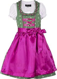 Ramona Lippert Kinder Dirndl für Mädchen - Kinderdirndl Franziska in Dunkelgrün - 3-teiliges Trachtenkleid - Trachtenmode - Tracht mit Schürze