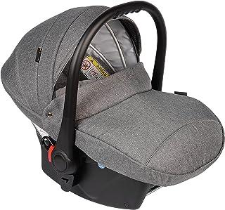 """Clamaro Babyschale Auto """"JUNO black"""" ultraleicht 2,95 kg mit Anti-Shock Schaumstoff, Gruppe 0 0-13 kg ECE-R 44/04 - Baby Autositz inkl. Sonnenverdeck und Fußabdeckung - Dunkelgrau Leinen"""