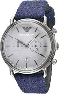 Emporio Armani Men's Aviator Stainless Steel Quartz Watch with Cloth Strap, Blue, 22 (Model: AR11144)