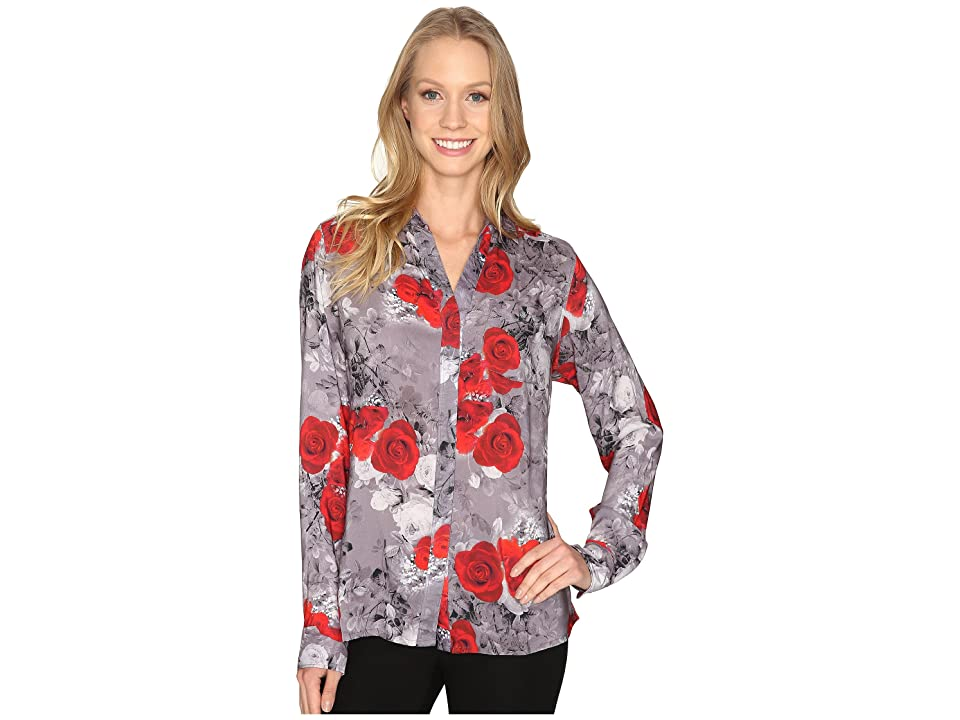 Jag Jeans Roan Shirt in Printed Rayon (Grey/Floral) Women
