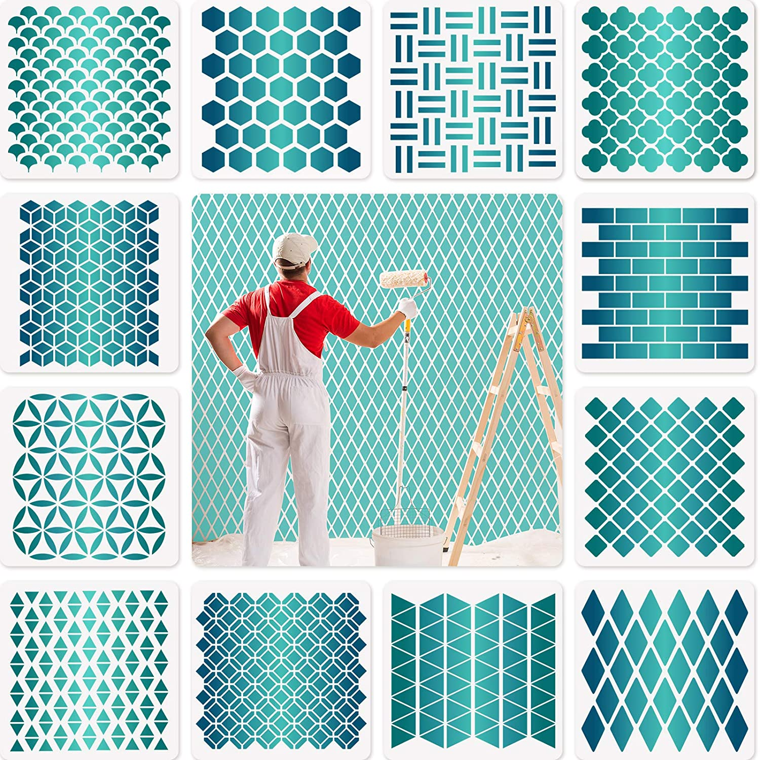 12 Sets Geometric Honeycomb Stencils Painting Sten Templates Art 5% OFF OFFicial site