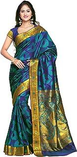 VARKALA SILK SAREES Women's Kanchipuram Silk Saree With unstitched Blouse Piece