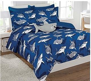 Fancy Collection Kids' Shark Full-Size Bed-in-a-bag Comforter Set of 8, Blue/Grey