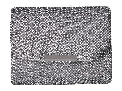 Jessica McClintock Katie Mesh Flap Clutch (Silver) Handbags