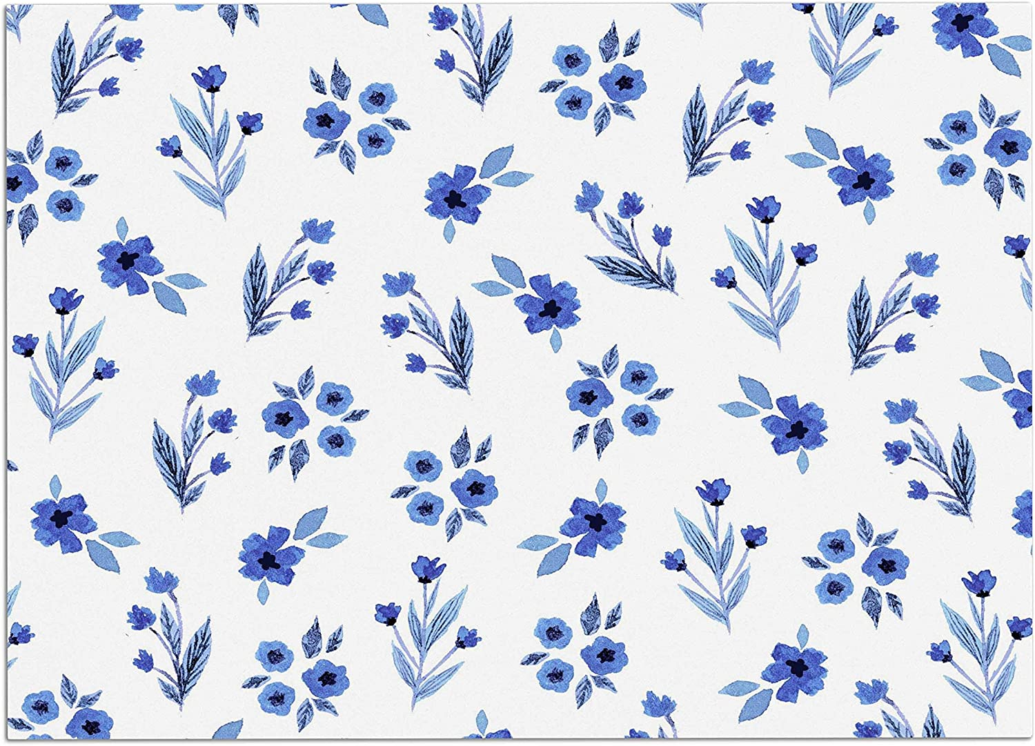 KESS InHouse Starwberringo bluee Floral Pattern White bluee Dog Place Mat, 24  x 15