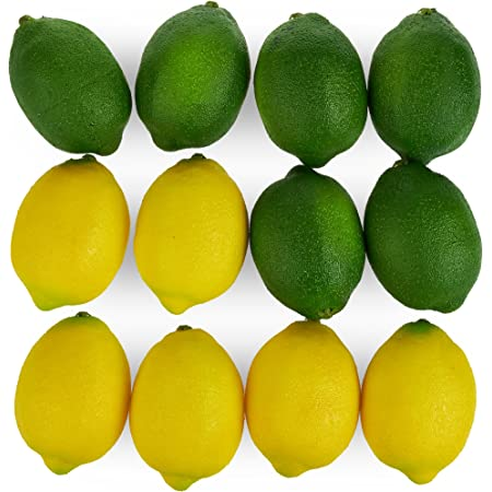 Kirmax 8 Pack Artificial Fake Lemons Limes Fruit for Vase Filler Home Kitchen Party Decoration Yellow and Green