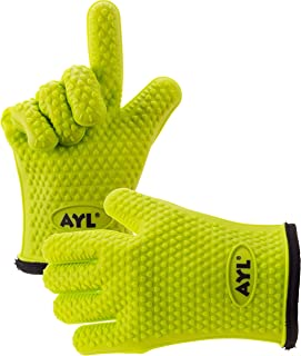AYL Silicone Cooking Gloves – Heat Resistant Oven Mitt for Grilling, BBQ, Kitchen..