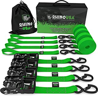 "RHINO USA Ratchet Straps Heavy Duty Tie Down Set, 5,208 Break Strength - (4) Heavy Duty 1.6"" x 8' Cargo Tiedowns with Padded Handles & Coated Chromoly S Hooks + (4) Soft Loop Tie Downs Strap (BLACK)"