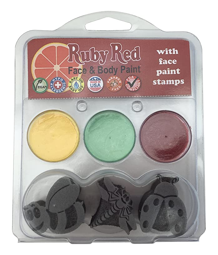 Ruby Red Paint Face Paint, 2ML X 3 Colors - Bugs Stamp Palette