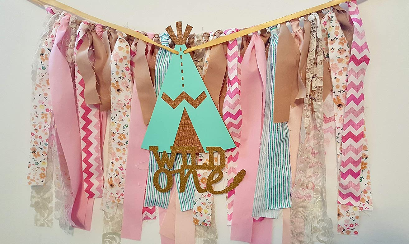 Wild One High Chair banner with fabric