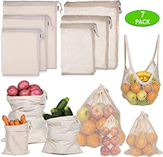 Ecoture Eco Friendly Reusable Produce Bags in Mesh and Muslin for Fruit and Vegetable Storage | Bonus Mesh Grocery Shopping Bag | Lightweight Premium Organic Cotton, Zero-Waste, Washable, See-Through